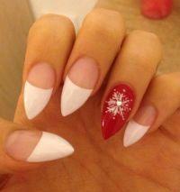 Stiletto nails Christmas French tip   So Fetch   Pinterest ...