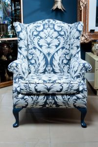 gray damask wingback chair | Blue and White | Pinterest ...