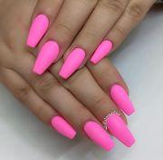 hot pink bubble gum nails