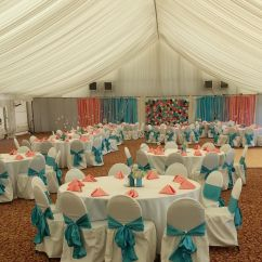 Teal Blue Chair Sashes Hanging Briscoes Wedding Linens Coral Fabric Napkins Napkin Aqua Pool