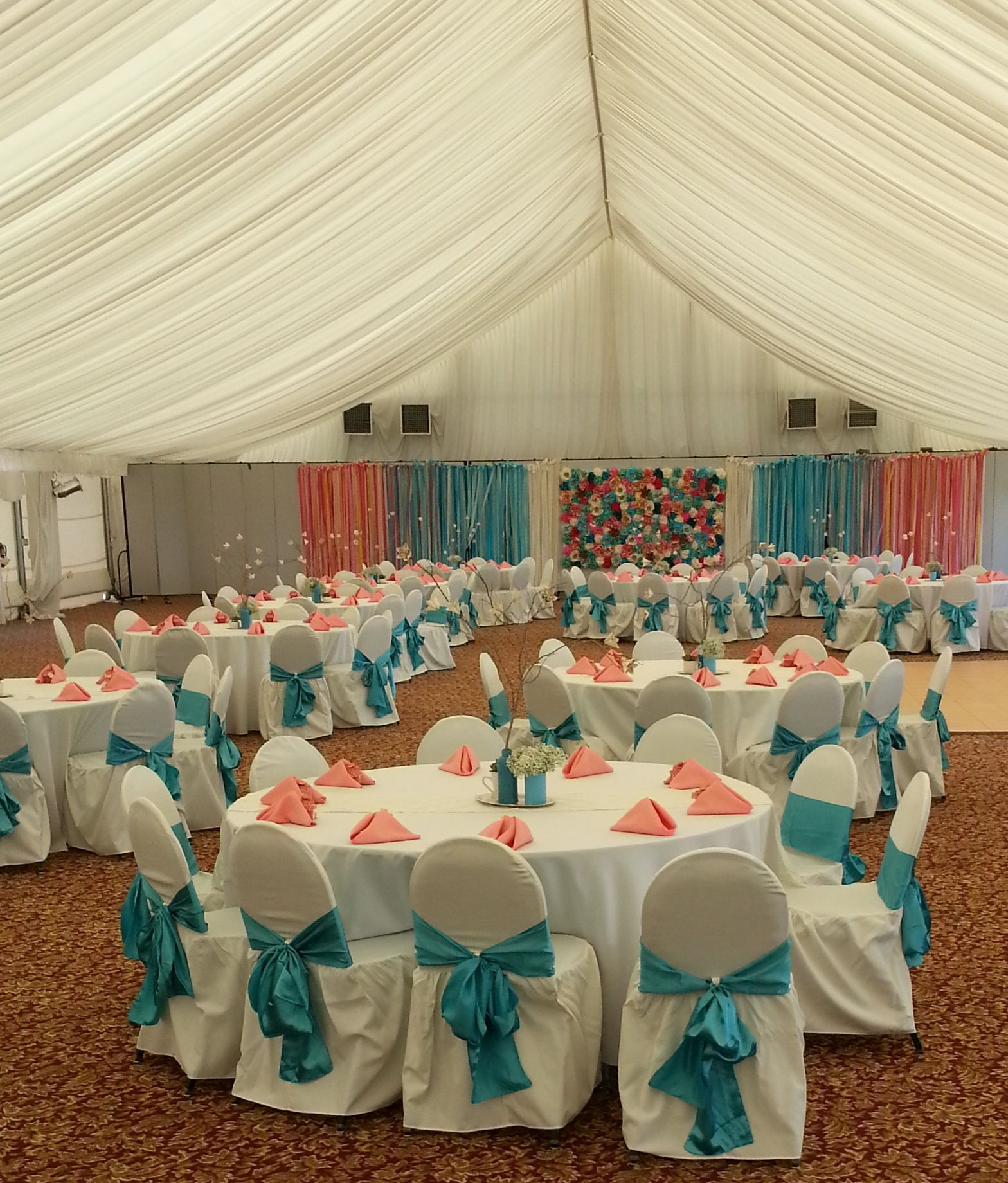 tiffany blue wedding chair covers glider rocking linens coral fabric napkins napkin aqua pool