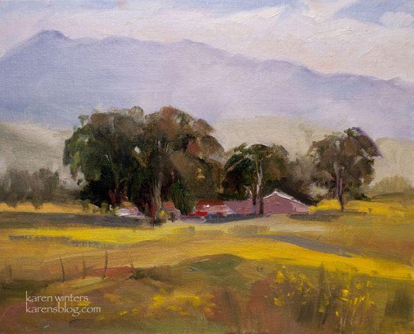 California Central Coast Plein Air Oil Painting - Farm
