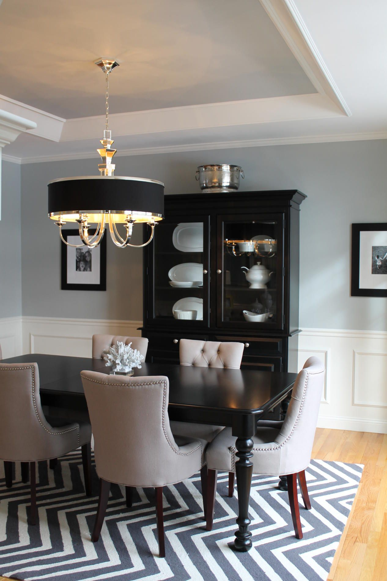 Pale blue dining room walls and ceiling with white