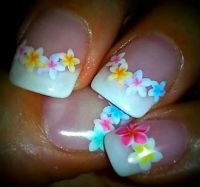 Gel nails, French manicure, tropical flowers. Nail design ...