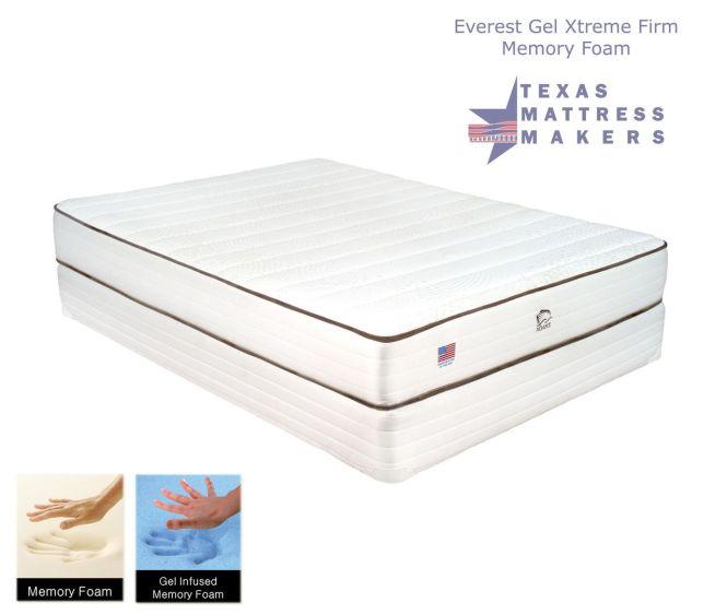 Texas Mattress Makers Everest Gel Memory Foam Xtreme Firm 959 00 Queen Set