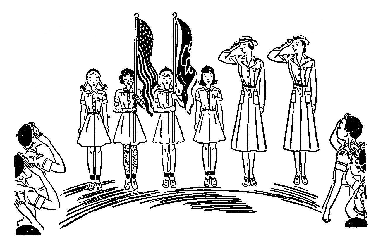 Girl Scout flag ceremony vintage line art www