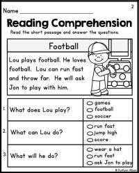 Reading Comprehension Worksheets For First Grade Students ...