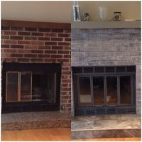 DYI fireplace make over. I paint washed the brick with a ...