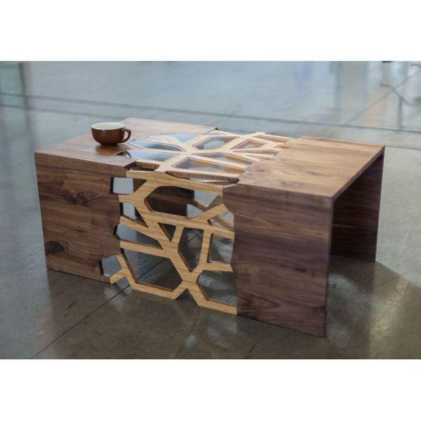 Coffee Table Handmade Organic Wood Mosaic