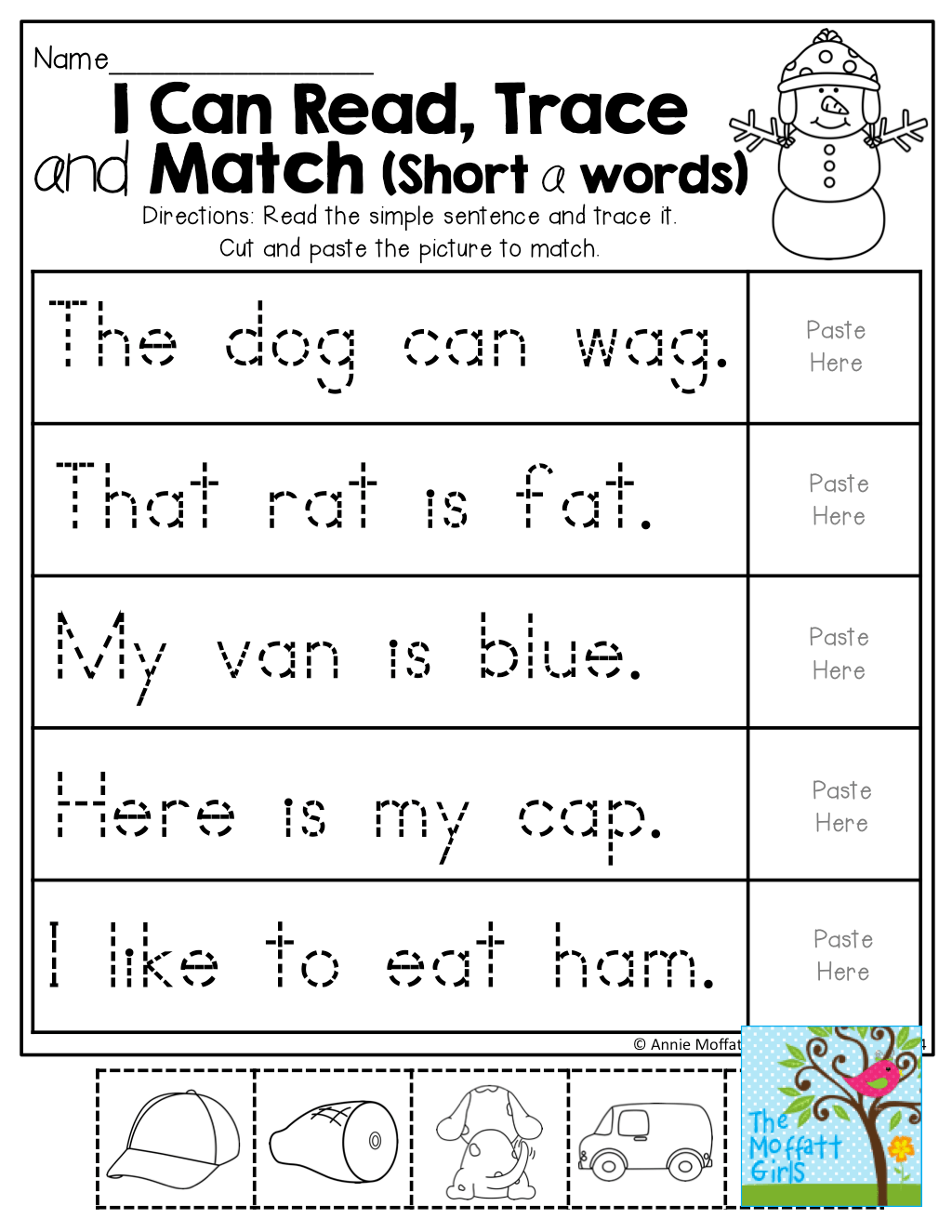 I Can Read Trace And Match Short A Words Tons Of Hands On And Effective Printables