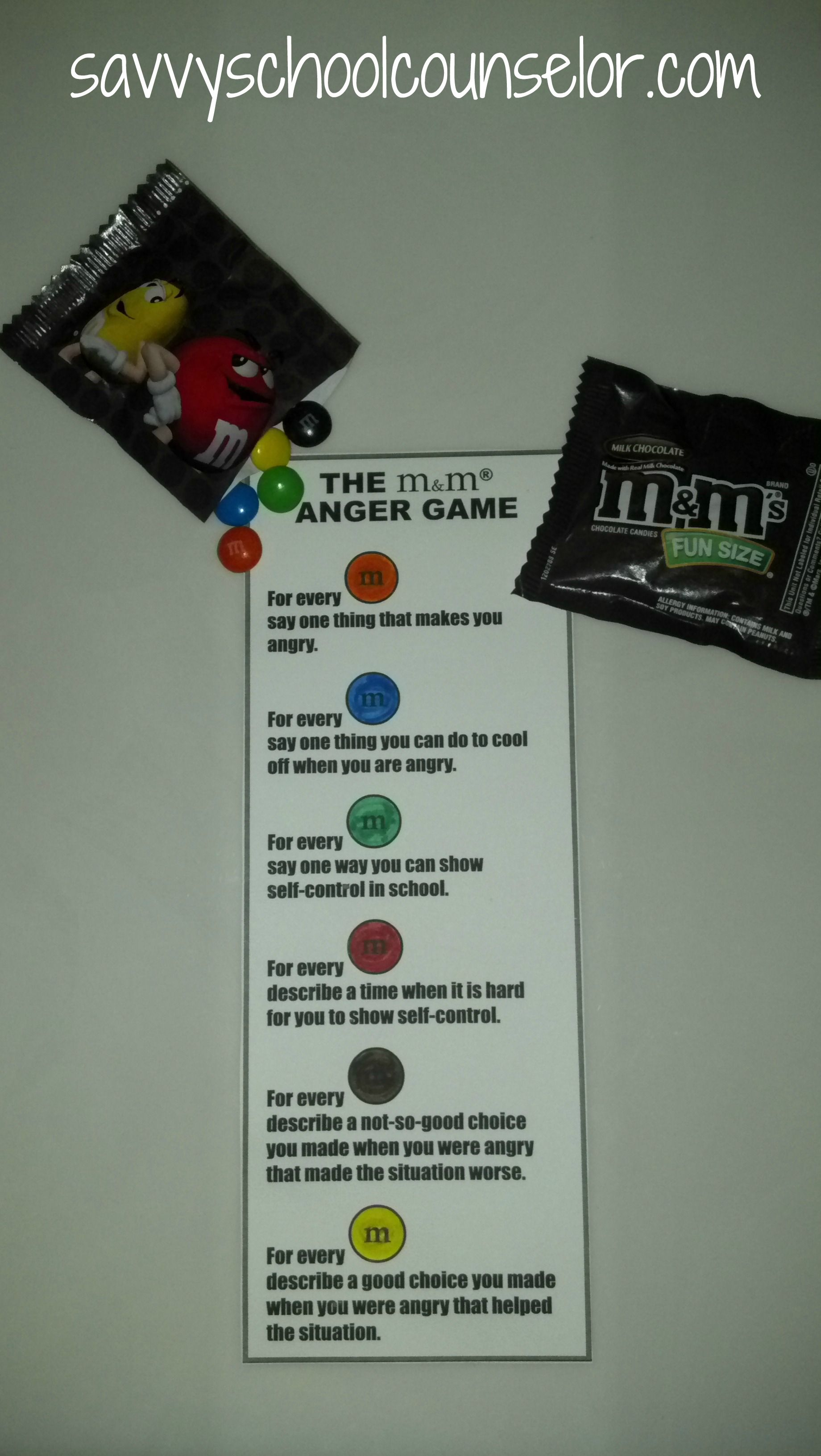 M And M Anger Game Savvyschoolcounselor