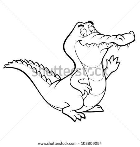 Vector crocodile cartoon alligator line art coloring book