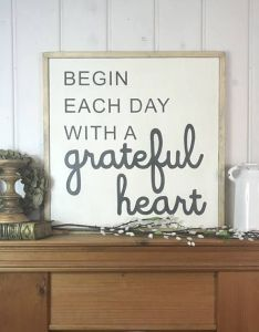 Rustic wood sign begin each day with  grateful heart home decor also rh za pinterest