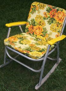 1970' Metal And Plastic Rocking Chair With Foam Pads