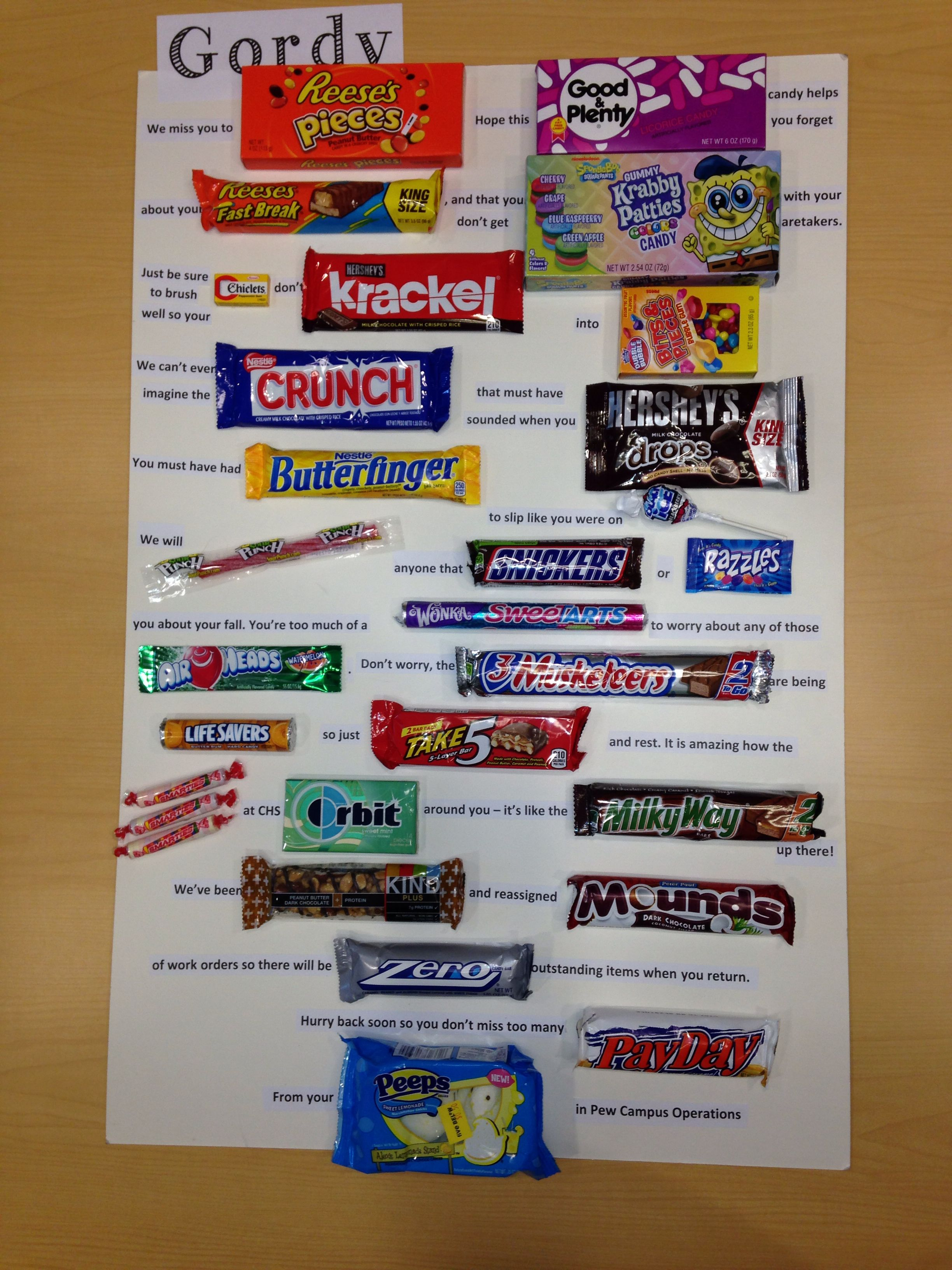 Get Well Candy Poster Card For Co Worker Work Stuff