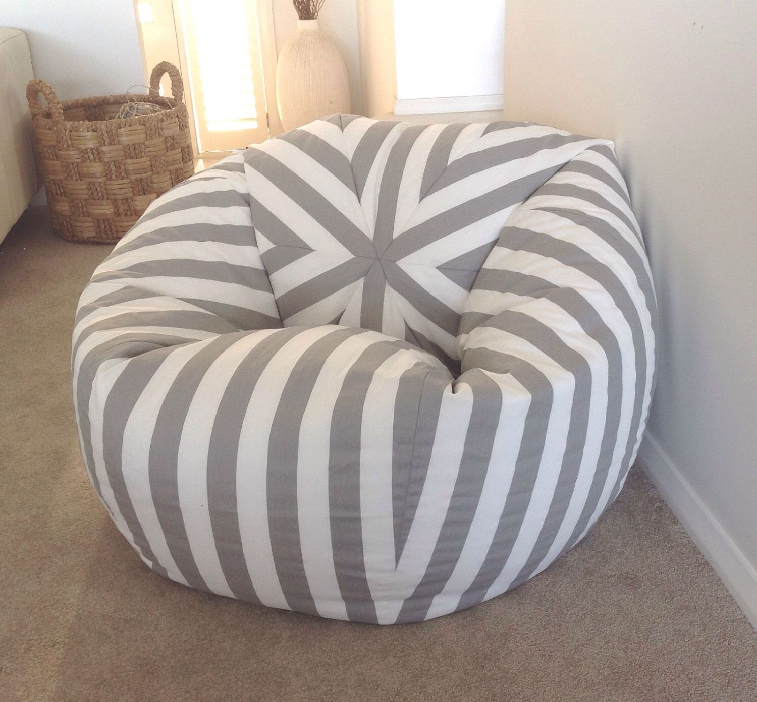 teal bean bag chair anti gravity with cup holder canopy stripe grey and white stripes cover kids bags nautical ...