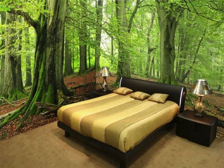 whimsical master bedrooms with forest wallpaper | forest wallpaper