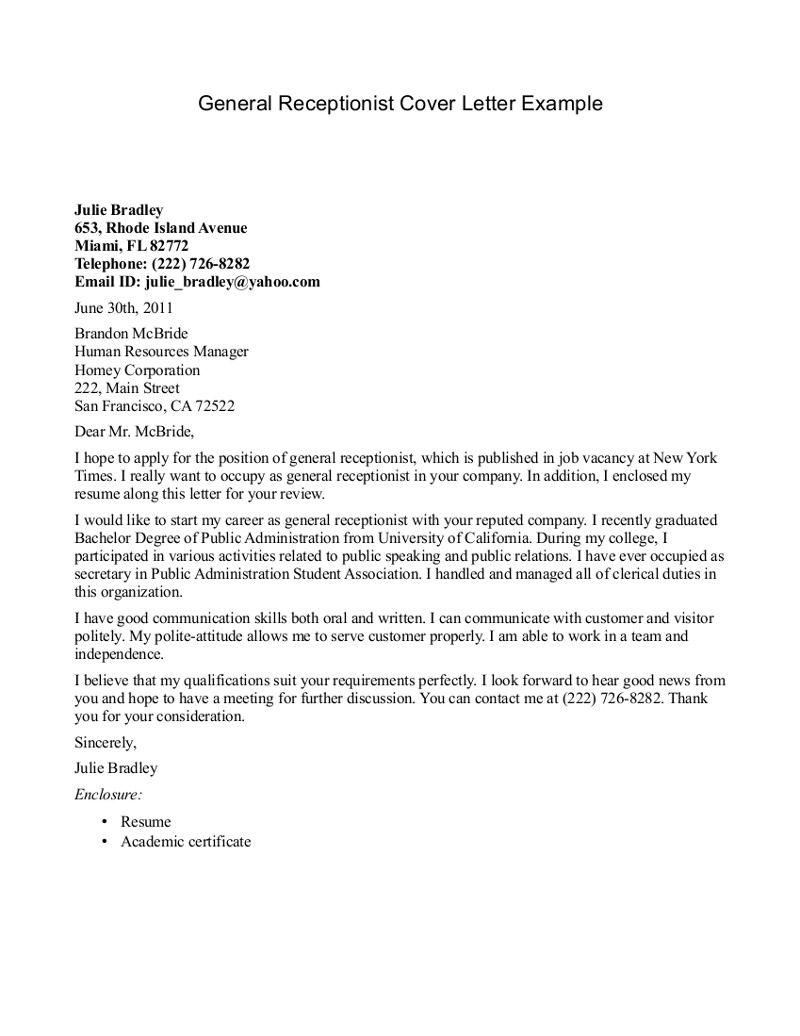 Receptionist Cover Letter Example  httpjobresumesamplecom456receptionistcoverletter