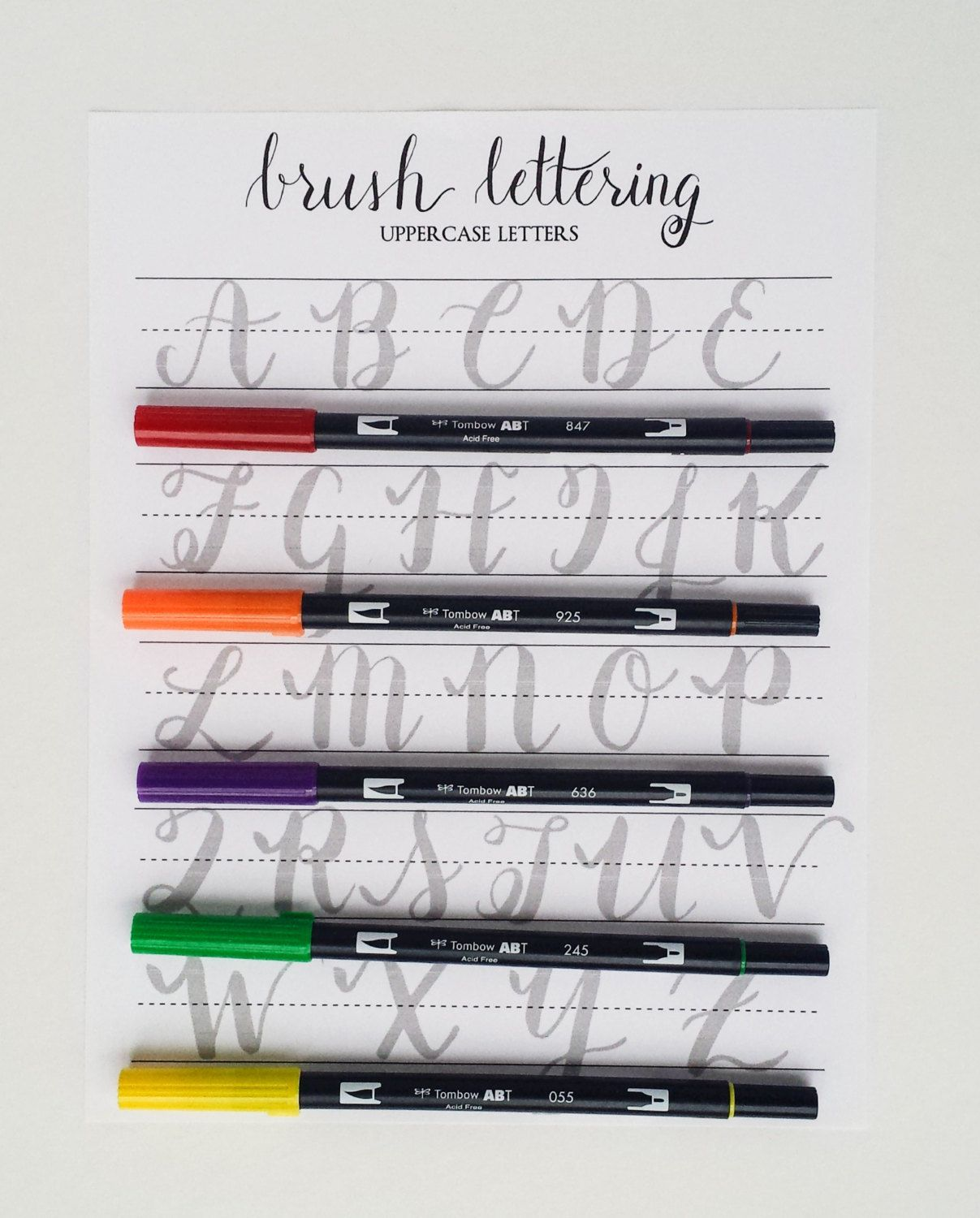 Brush Lettering Practice Worksheets