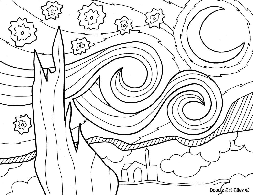Vincent Van Gogh Starry Night Coloring Sheet