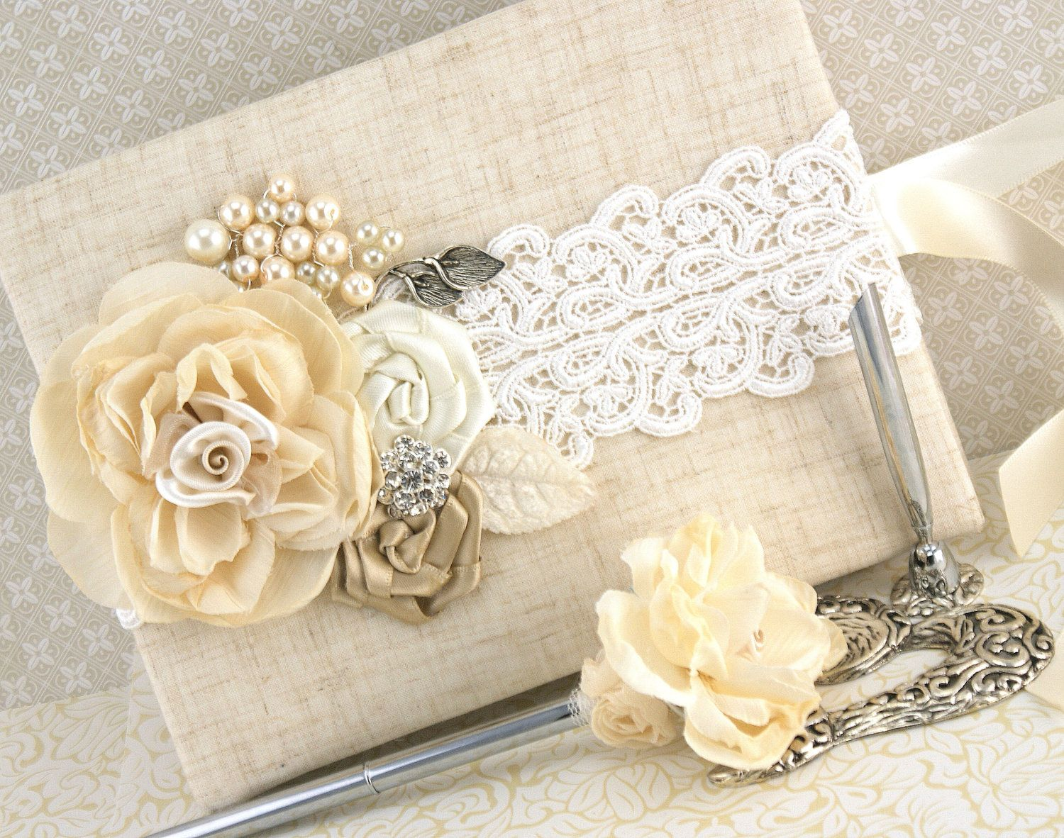 Wedding Guest Book and Pen Set Shabby Chic Vintage by SolBijou 13000  wedding decorations