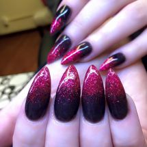 Red and Black Glitter Ombre Nails