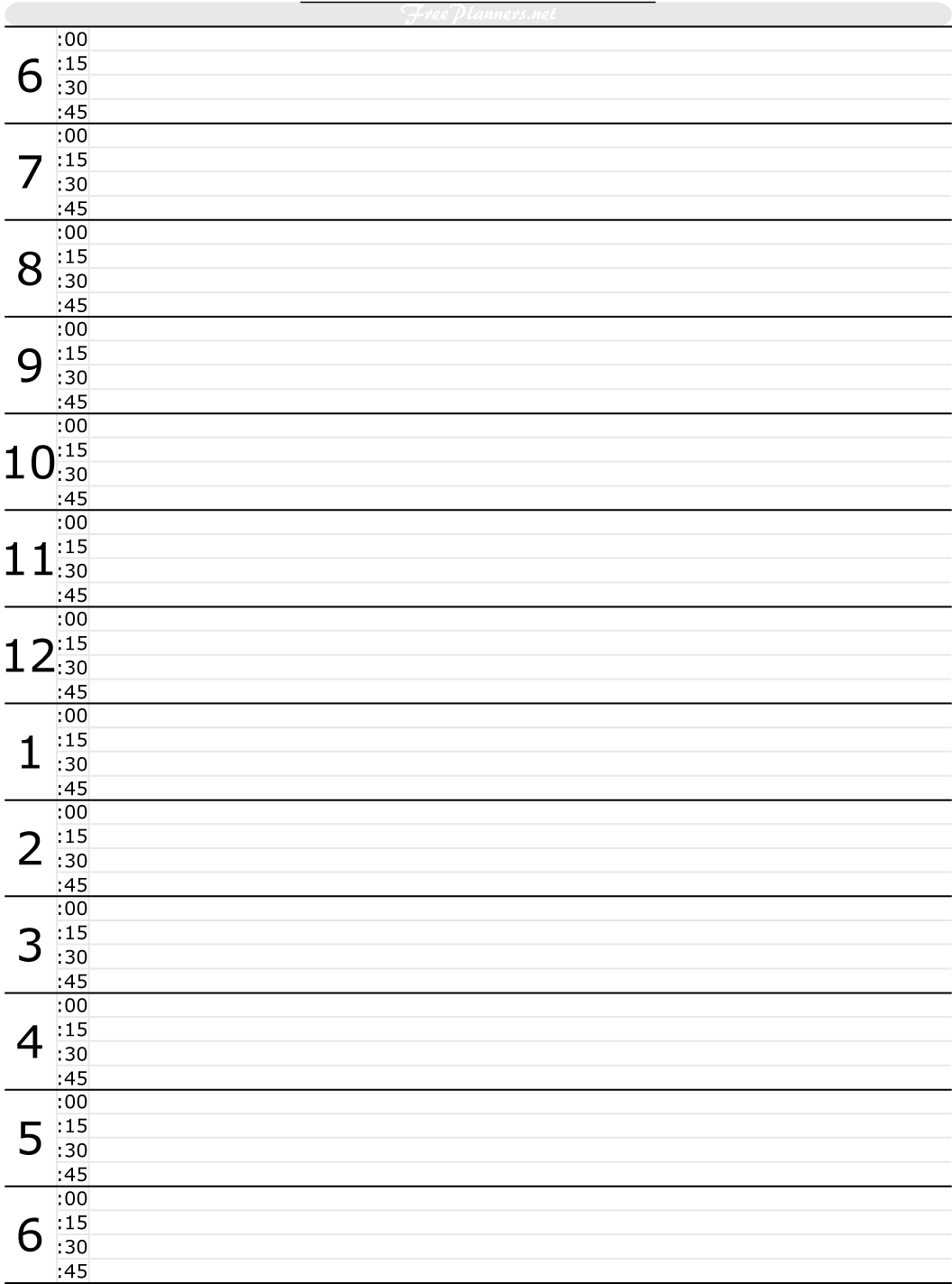 Hourly Daily Schedule Template