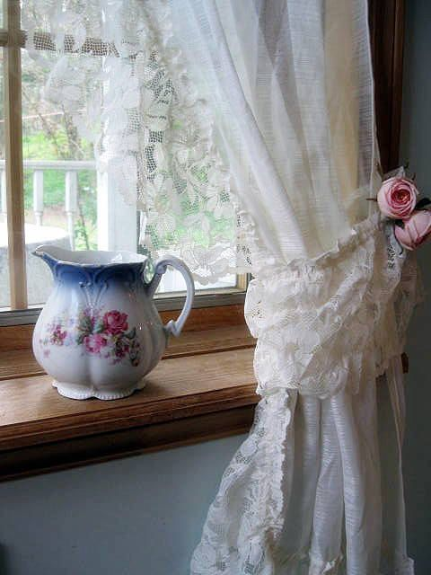 Curtains Lace Curtains Frills Drapes Ivory Tie Backs Cottage