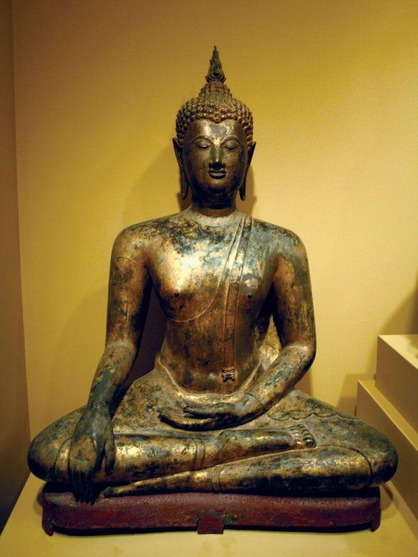 Seated Buddha Gilt Bronze Sculpture Sukhothai