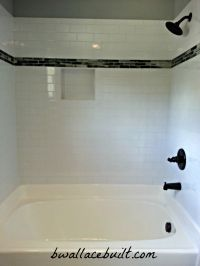 Light gray subway tile with slate tile accent. | The ...