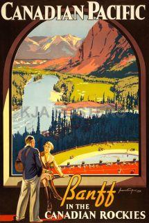 Canadian Rockies Travel Posters Vintage