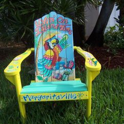 Ideas For Painting Adirondack Chairs Chair Exercises At Work Tropical Handcrafted Hand Painted Livin' On Island Time Parrot Margarita ...