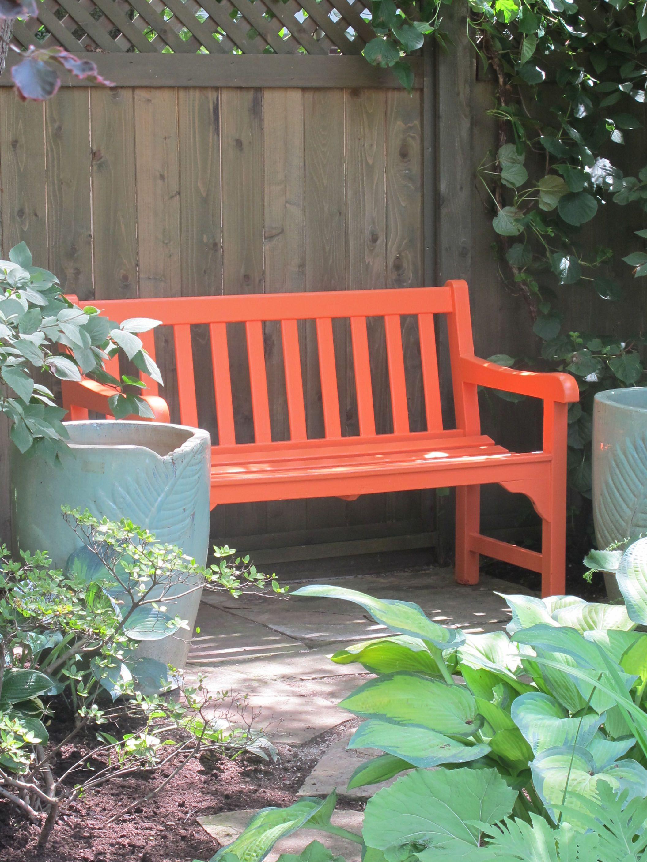 Tangerine Bench Between Blue Pots Gardens Pinterest