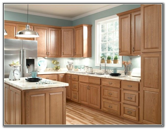 Paint colors that go with red oak cabinets for Best brand of paint for kitchen cabinets with organic wall art