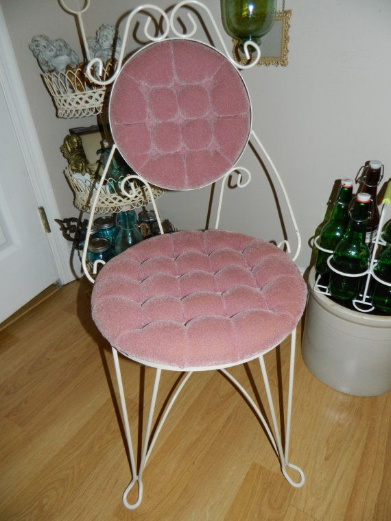 Vintage Vanity Chair Pink Tufted Iron Chair by