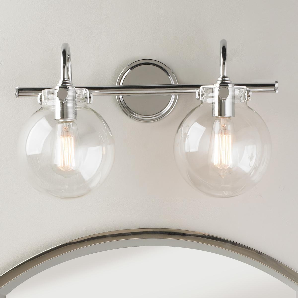 Retro Glass Globe Bath Light  2 Light  Bath light Globe and Chrome