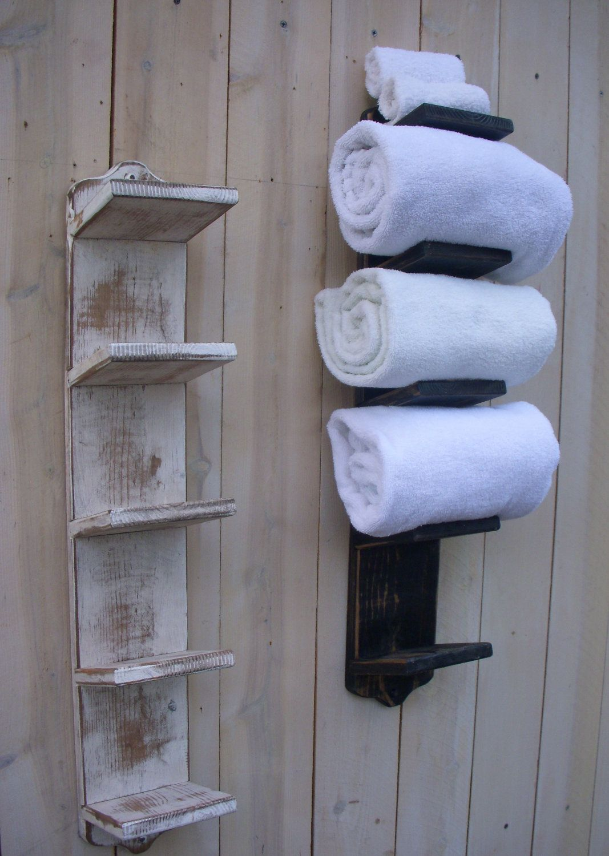 Bath Towel Holder Bathroom Decor Wood Shabby by