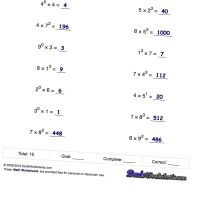 Exponents worksheets for computing powers of ten and ...