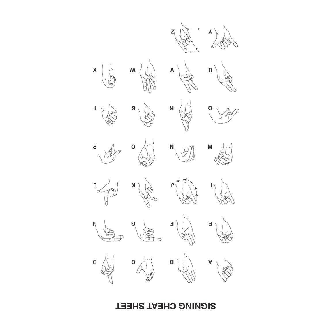 Alphabet Sign Language Cheat Sheet T-Shirt | Alphabet signs ...