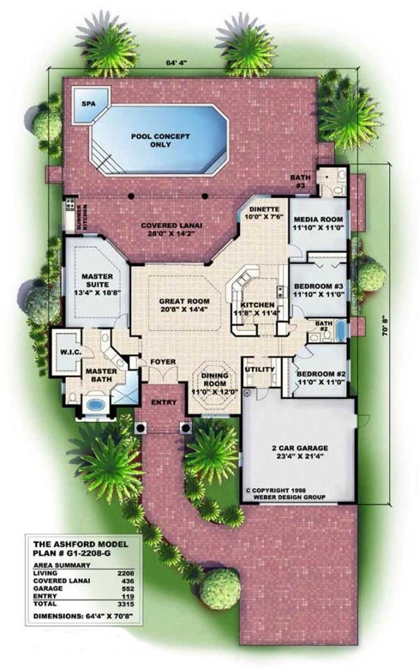 2 208 Sq Ft Floor Plans For This Set Of Mediterranean Style