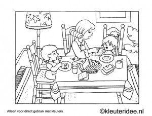Kleurplaat ontbijt, kleuteridee , Preschool coloring