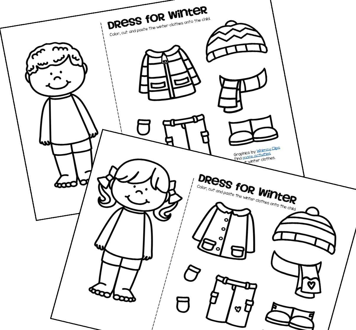 Free Color Cut And Paste The Winter Clothes Onto The Girl And Boy