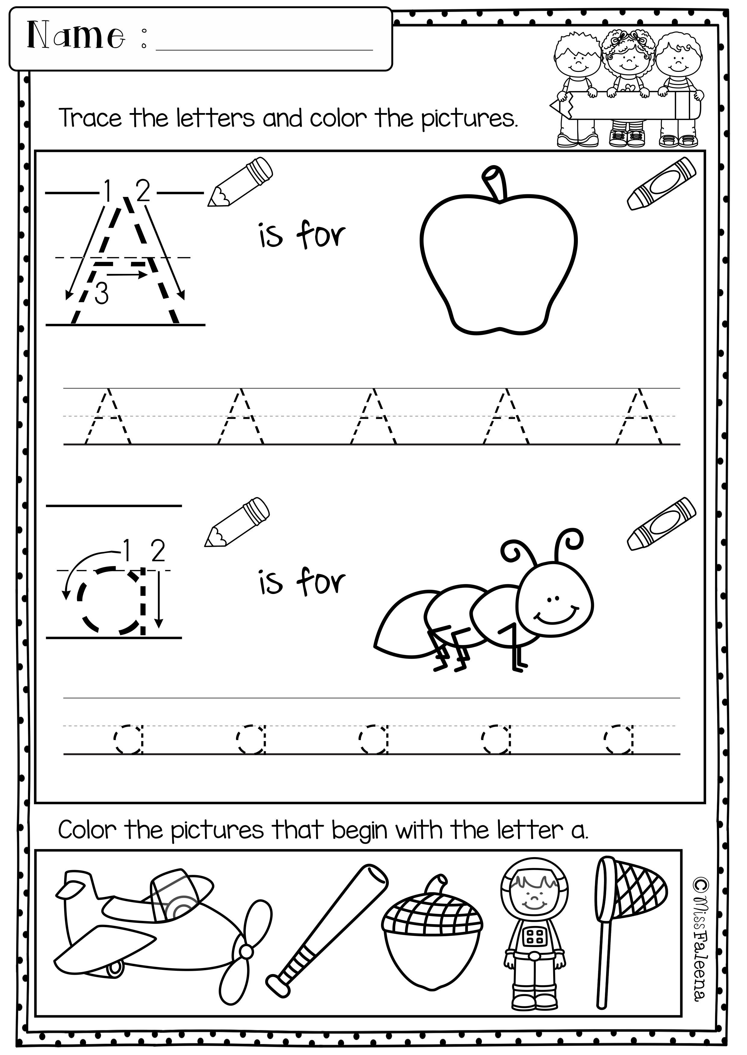 Work Pages For Preschoolers