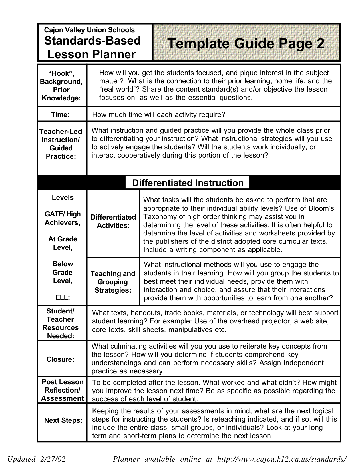 Lesson Plan Template For Middle School Art