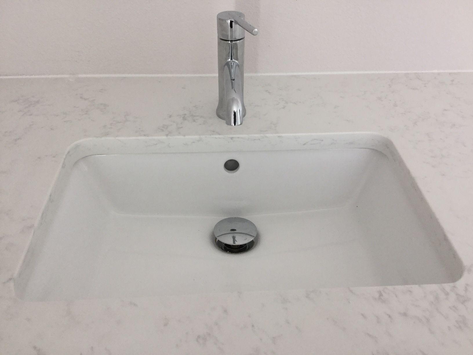 Master Bathroom vanity with Quartz Slab  Calacatta