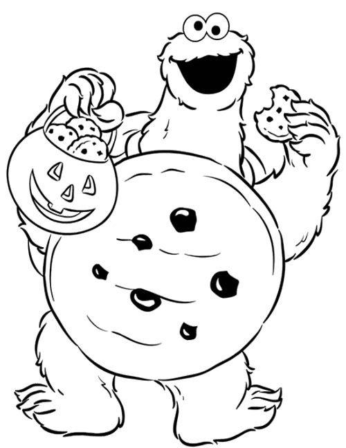 cookie monster halloween coloring page  kids coloring