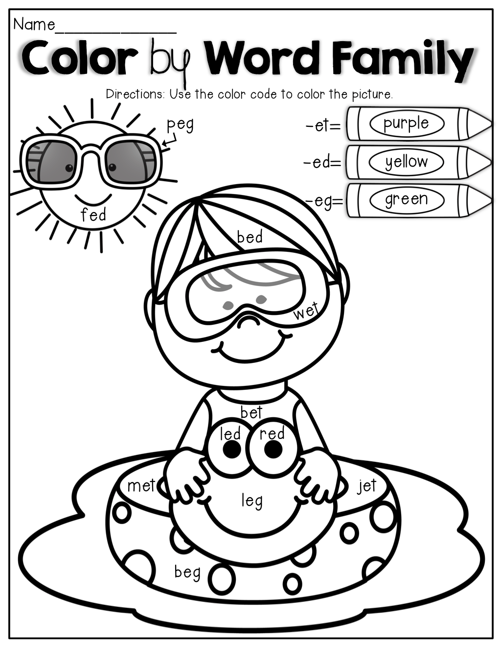Color by Word Family! An educational COLORING BOOK that