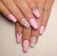 Simple and pretty nail design. Girly. Valentine's Day pink ...