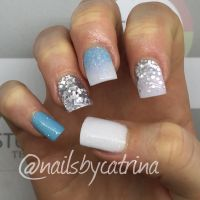 Winter wonderland themed nails. They fit in well with ...