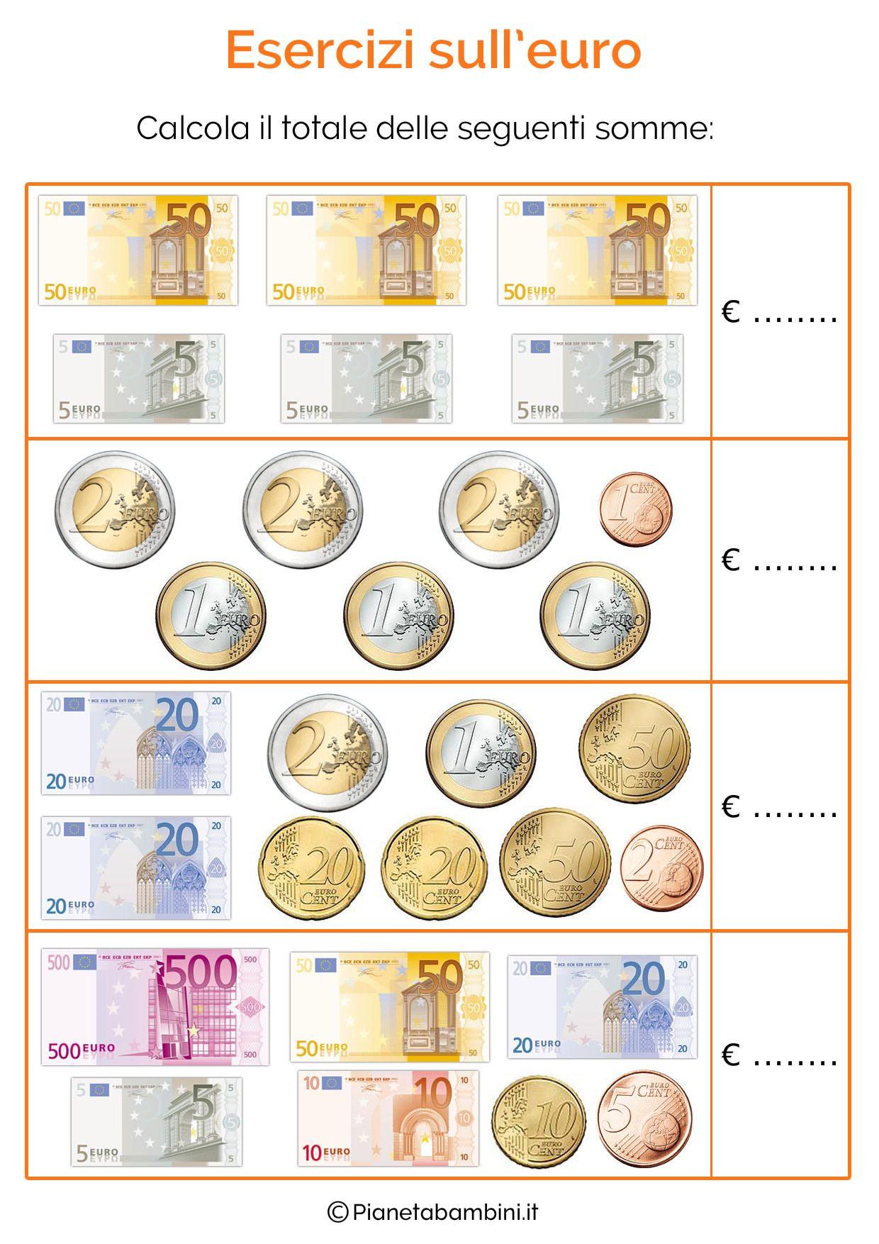 Schede didattiche con tabelle su tutte le monete e